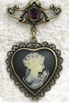 Sincerely Sweet Brooch - #brooch #brooches #sincerely-sweet - Brooch - Royal Reign Victorian Heart Cameo Brooch