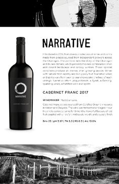 Narrative Cab Franc 2017 | Beautiful Okanagan Red Wine aged in concrete tanks for 8 months. Red Fruit, Wines, Red Wine, Vodka Bottle, Alcoholic Drinks, Conditioner, 8 Months, Concrete, Beautiful
