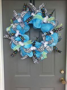Zebra print and polka dot deco mesh wreath