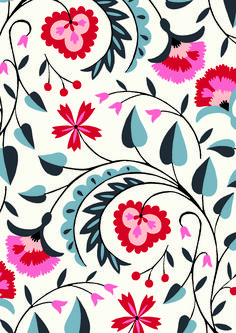 Pattern Floral pattern by Minakani # minakani # fokflower Textile Patterns, Flower Patterns, Print Patterns, Boho Pattern, Pattern Art, Motif Floral, Floral Design, Floral Prints, Pink Design