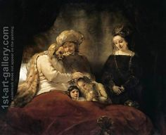 Jacob Blessing the Children of Joseph 1656 by Rembrandt Van Rijn