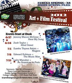 Art & Film Festival promotional material for festival in Eureka Springs AR.