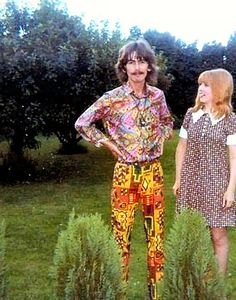 A stylish George Harrison with visiting German fan Sylvia Purbs (1967)