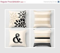 SALE Neutral Throw Pillow Geometric Home Decor by HLBhomedesigns