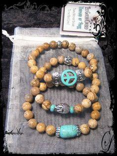 Turquoise dyed Howlite Set with Picture Jasper Gemstones #eyegotchacovered #Buddha #Peace