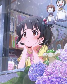 anime, rain, and kawaii image