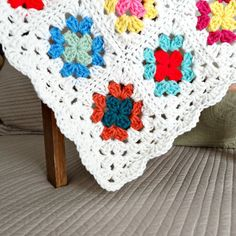 Crochet Baby Blanket Small Granny Square by ReneeBrownsDesigns