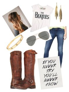 """""""My kind of day"""" by marmie-jotter ❤ liked on Polyvore featuring Frye, Gap, Ray-Ban, Cartier, Rachel Reinhardt and frye boots"""