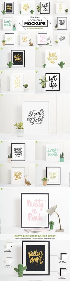 10 picture frame mockups is a picture frame kit for photoshop. Easily mock up your designs into a clean contemporary scene in just a few clicks. The images have a minimalist but fresh look and feel. Perfect for you to showcase your Etsy shop, blog, art prints or social media accounts.