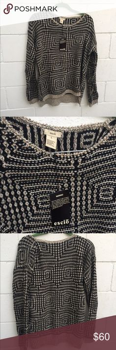 NWT ESCIO Sparkly Holiday Sweater Adorable black and gold sparkly sweater. Size L. Never worn but there are a few threads that are pulled. Escio Sweaters Crew & Scoop Necks