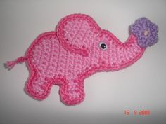 Elefant Baby Rosa Blume Aufnäher Applikation cr...
