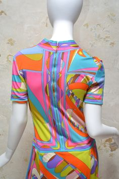 Emilio Pucci Vintage Geometric Print Silk Jersey Dress | From a collection of rare vintage day dresses at http://www.1stdibs.com/fashion/clothing/day-dresses/