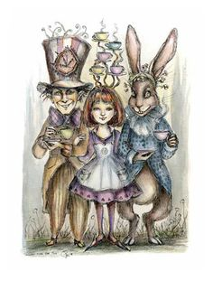Always Time for Tea art print by Paulina Cassidy Alice in Wonderland. $15.00, via Etsy.