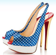 red white and blue peep toe slingbacks - patriotic Louboutin's