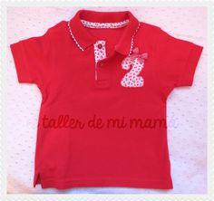 #polos personalizados para #niña de color Rojo y número 2. Precio: 24€. Pero puede salir mucho más económico si visitas nuestro apartado de El Club de mi mamá ¡Visítanos!  http://www.eltallerdemimama.com/p/el-club-de-mama.html #handmade #ropainfantil #kidswear