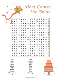 Celebrate love, marriage and the bride to be with our wedding word search.  Perfect for a fun little game at bridal shower party.