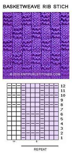 Just Knit and Purl-Basket-weave Rib stitch. Just Knit and Purl Basket-weave Rib stitch. Just Knit and Purl - Knitting Stiches, Knitting Charts, Lace Knitting, Knitting Socks, Knitting Needles, Crochet Stitches, Rib Stitch Knitting, Knit Crochet, Loom Scarf