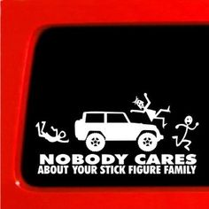Stick Figure Jeep Family Nobody Cares funny truck funny stickers car decal bumper * : Amazon.com : Automotive