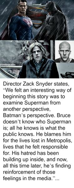 """Director Zack Snyder states, """"We felt an interesting way of beginning this story was to examine Superman from another perspective, Batman's perspective...  #MovieReview #FilmBlog #BatmanVSuperman #superheros #WarnerBrosPictures #DCComics"""