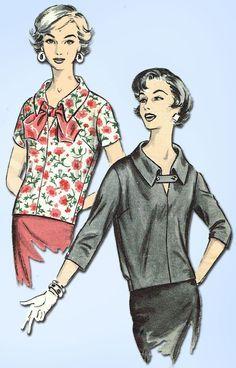 1950s Vintage Advance Sewing Pattern 8720 Misses Blouson Over Blouse Sz 14 34B