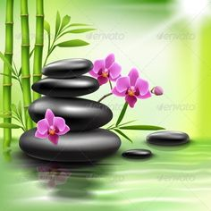 Buy Realistic Spa Background by macrovector on GraphicRiver. Realistic spa beauty health care background with bamboo stones orchid vector illustration. Editable EPS and Render in. Zen Painting, Easy Canvas Painting, Spring Painting, Canvas Wall Art, Photo Zen, Pintura Zen, Wallpaper Free, Wallpaper Maker, Bamboo Art