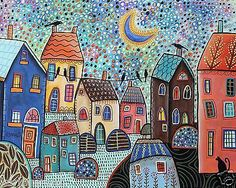 Confetti Sky CANVAS PAINTING Houses Birds Cat 20x16 FOLK ART ABSTRACT Karla G..Brand new painting, now for sale..