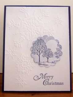 Lovely as a Tree by BLN - Cards and Paper Crafts at Splitcoaststampers----tree stamp on circle punch is big impact Homemade Christmas Cards, Christmas Cards To Make, Xmas Cards, Homemade Cards, Holiday Cards, Snowflake Cards, Embossed Cards, Winter Cards, Paper Cards