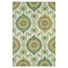 Rug with a suzani motif in ivory and aqua.   Product: RugConstruction Material: 100% PolyesterColor: