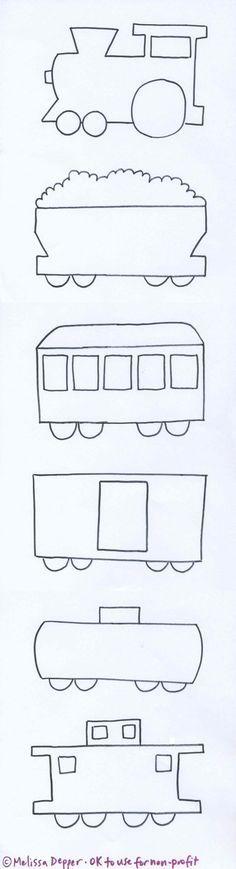 molde de un Tren y sus diferentes vagones. Train and templates