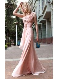 Schede Een Schouder Applique Ruched Roze chiffon prom dresses