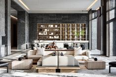 Concrete Wall, Sales And Marketing, Modern Contemporary, Bookcase, Lounge, Real Estate, Shelves, Table, Furniture