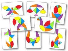 Tangram egg: to print models for kindergarten Montessori Math, Montessori Materials, Teaching Tools, Teaching Math, Tangram Printable, Tangram Puzzles, Geometry Activities, Spring Projects, Math For Kids