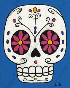 Day of the Dead PINK Flower Eyes Skull Original PRINT by saide, $9.95