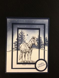 Stampin up Horse frontier - Christmas card for my girls' riding coach.