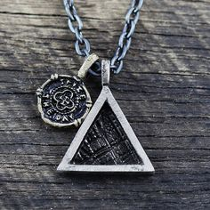 Silver Triangle Pendant Mens Necklace Chain by carpediemjewellery