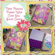 Planner wrap covers & more for Erin Condren, Plum paper, inkwell press, limelife, simplified life, arc, mambi happy planner & more. Visit my Etsy listing at https://www.etsy.com/listing/229329188/clearance-flower-confetti-wrap-planner