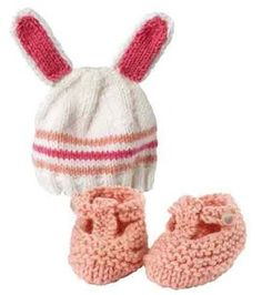 Bunny hat & booties for a little one from Lion Brand Yarn