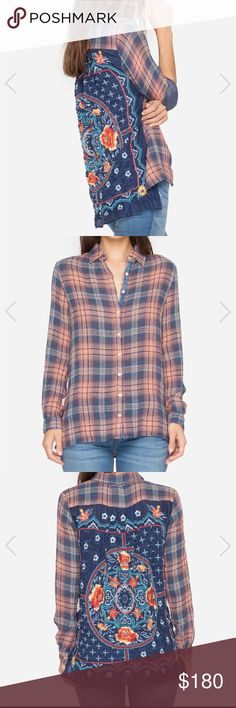 Johnny Was Plaid Shirt Johnny Was Embroidered back Plaid piece! NWT! 🌸 Johnny Was Tops