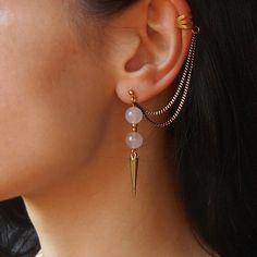 Rose Quartz ear cuff earrings Spike earrings by Maleena09 on Etsy https://www.etsy.com/listing/222738297/rose-quartz-ear-cuff-earrings-spike?ref=shop_home_active_1