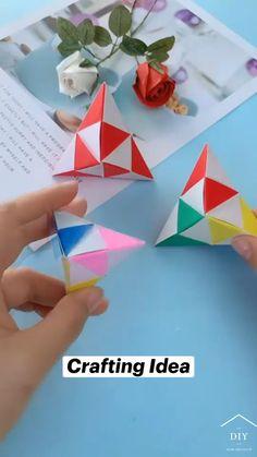Cool Paper Crafts, Diy Crafts To Do, Paper Crafts Origami, Diy Crafts Hacks, Diy Arts And Crafts, Creative Crafts, Paper Folding Crafts, Diy Paper, Instruções Origami