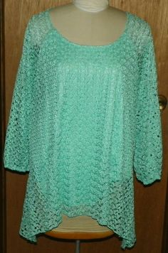 c10cfc99ff Cato Mint Green Lace Lined Spring Sweater with Scalloped Hem Size 26/28 W #
