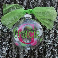 Personalized Glass Disc Ornament with Initial and Name | Jane