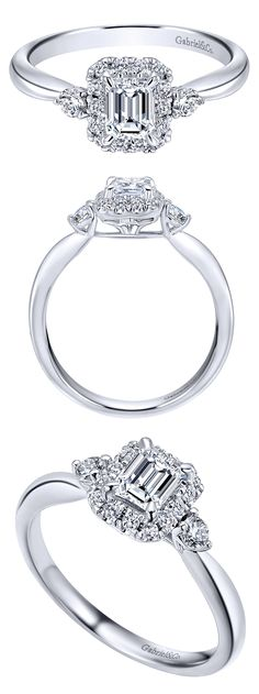 A simple and classy 14k White Gold Diamond Halo Engagement Ring from Gabriel & Co. This perfect piece has such cuteness with so much class! This style is a favorite of ours along with all the other styles on our website www.gabrielny,.com!