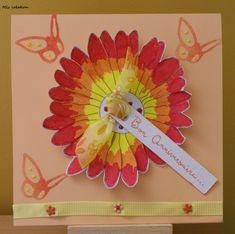 Carte anniversaire, thème fleuri, coloris rouge, orange et jaune