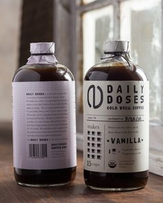 Daily Doses Cold Brew Coffee Label on Packaging Design Served