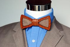 Leather and  Wood Bow Tie  Suit up  Wood Leather by VenutoWoodWork