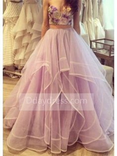 Cheap prom dresses Buy Quality 2 piece prom dresses directly from China two piece prom dresses Suppliers: Lavender Crystal Beaded Flowers Two 2 Piece Prom Dress 2017 Vestidos Azules Elegantes Sexy Long Tulle Party Formal Gowns Prom Dresses Two Piece, A Line Prom Dresses, Homecoming Dresses, Formal Dresses, Dress Prom, Party Dress, Quinceanera Dresses, Dresses 2016, Prom Party