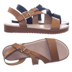 bbec24234bbd Bestie05 by City Classified Threaded Flatform Sandal w Strappy Cage  Adjustable Cross Strap Flat Sandals