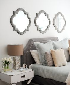 Bed Bath and Beyond Mirrors, Inspire Q Esmeral Grey Linen Button Tufted Arched Bridge Upholstered Bed #FashionableHostess #inspireQ