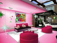 Bedroom, : Amazing Red And Pink Teenage Girls Bedroom Makeover Concept With Bunk Beds Design, Round Shape Comfy Cushion Seat Also Mozaic Mural Frame Design
